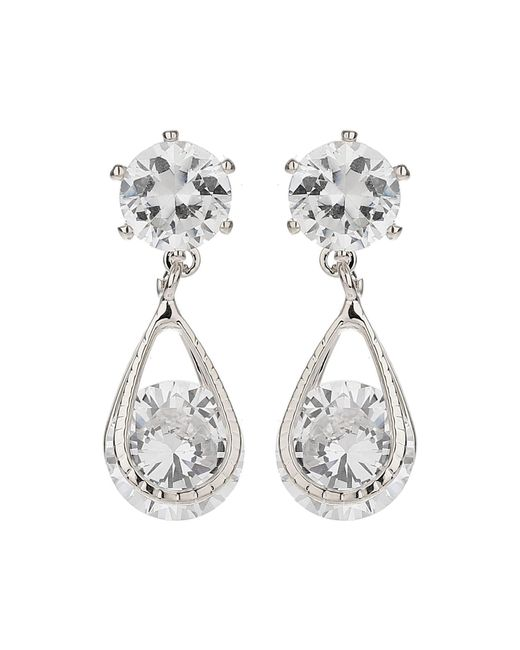 Mikey - White Crystal Bead Dangling Drop Earring - Lyst