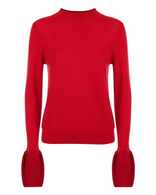 Jaeger | Red Wool Fluted Sleeve Sweater | Lyst