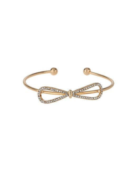 Mikey - Metallic Crystal Bow Cuff Bracelet - Lyst