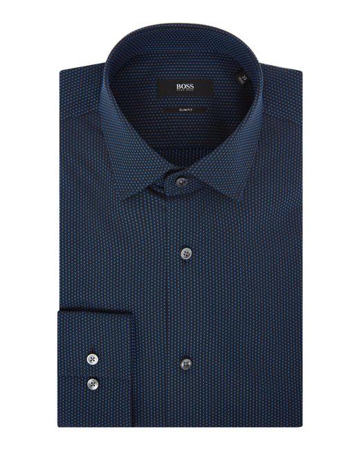 BOSS | Blue Men's Slim Fit Spot Texture Shirt for Men | Lyst