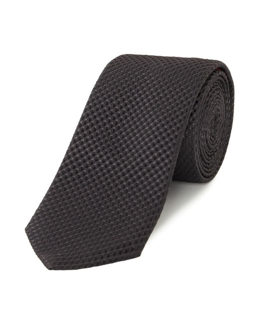 HUGO | Black Textured Square Print Silk Tie for Men | Lyst