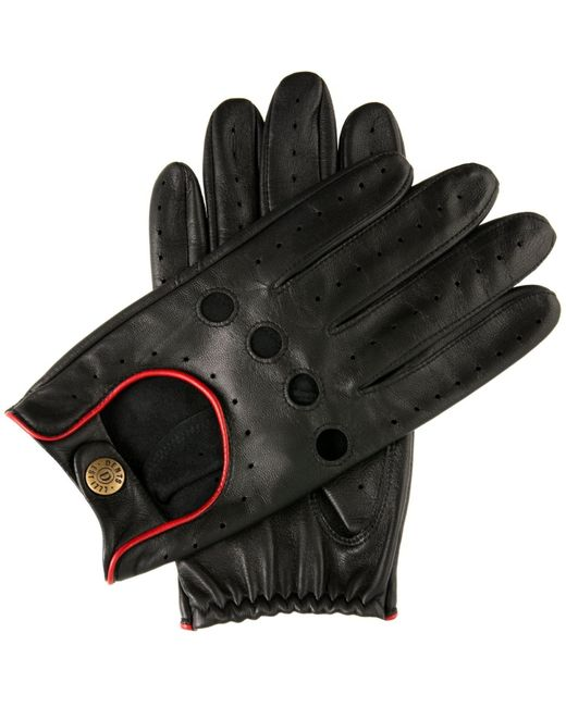 Dents Black Classic Leather Driving Gloves for men