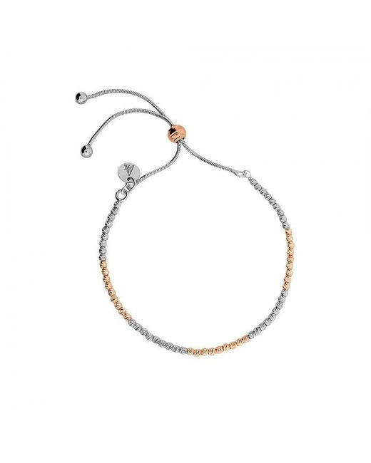 Azendi | Metallic Rose & Silver Textured Adjustable Bracelet | Lyst