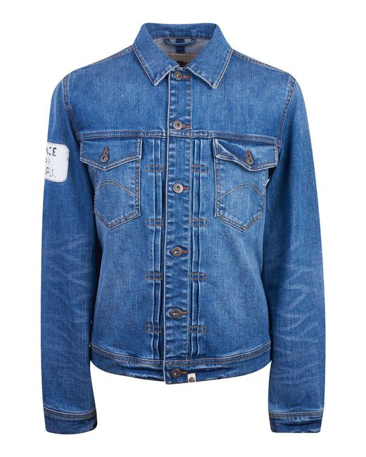 Pretty Green | Blue Button Up Denim Jacket for Men | Lyst