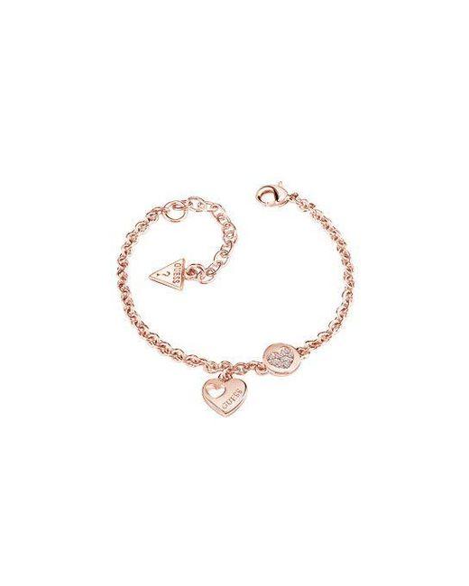 Guess - Metallic Heart Devotion Sparkle Coin Bracelet - Lyst