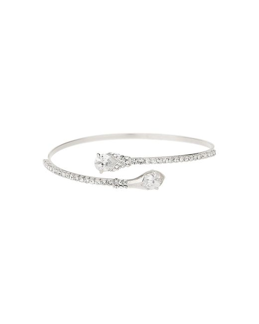 Mikey - White London Oval End Cubic Cuff Cubic Bangle - Lyst