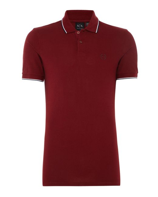 Armani Exchange | Red Men's Tipped Collar Polo for Men | Lyst