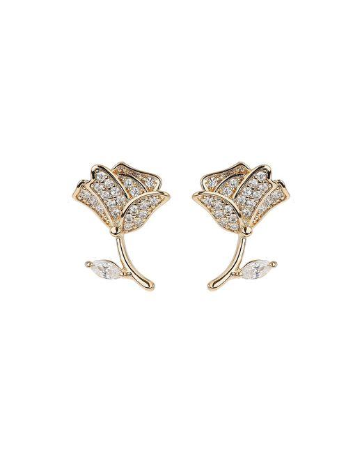 Mikey | Metallic Flower Stem Crystal Stud Earring | Lyst