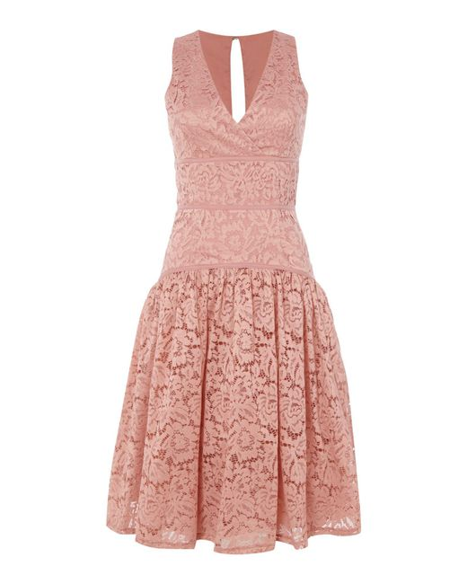Little Mistress | Pink Sleeveless Lace Dropped Hem Dress | Lyst