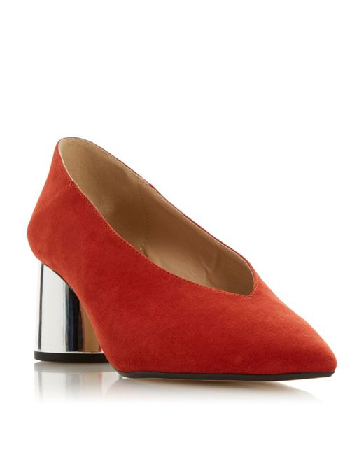Dune Red Amyyy Block Heel Court Shoes