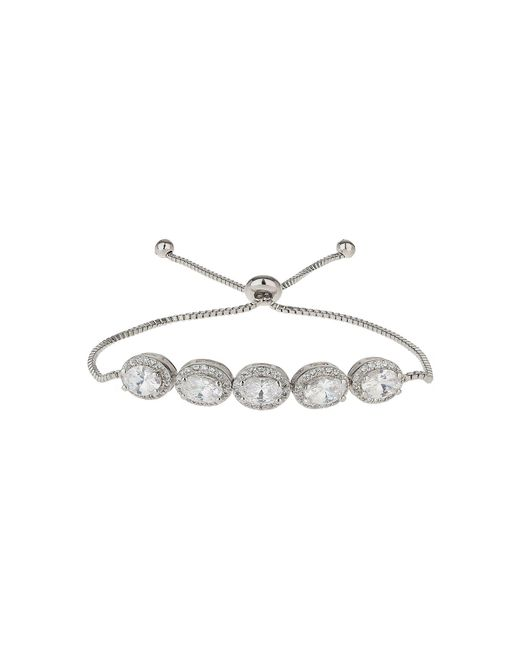 Mikey - White Oval Cubic Spike Beads Tie Up Bracelet - Lyst