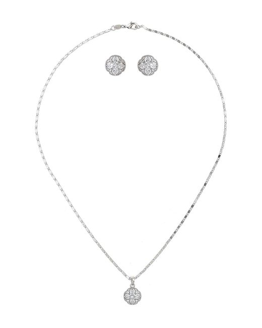 Mikey - White London Crystal Round Flowe Necklace Earring - Lyst