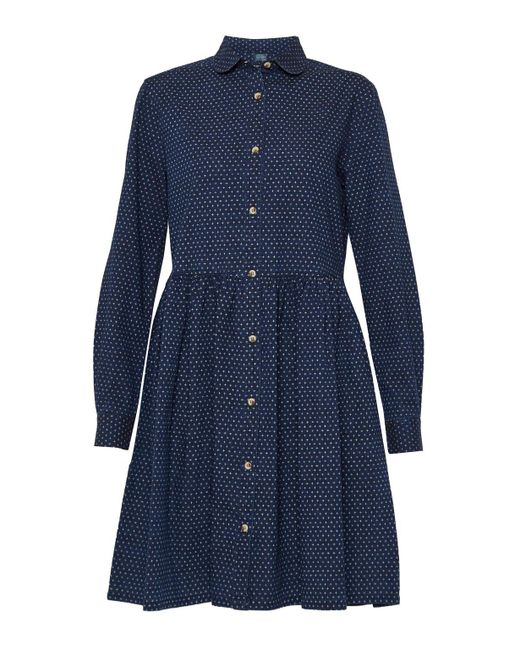 French Connection | Blue Indigo Cross Long Sleeved Gathered Shirt Dress | Lyst