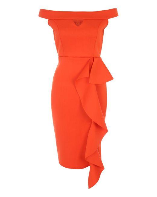 Jane Norman | Orange Ruffle Bardot Dress | Lyst