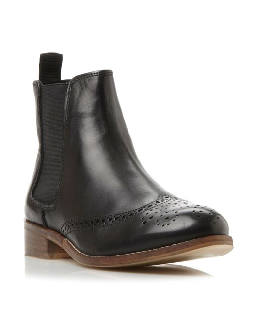 Dune | Black Quentin Brogue Leather Chelsea Booties | Lyst
