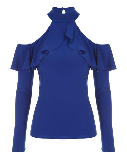 Jane Norman | Blue Ruffle Cold Shoulder Top | Lyst