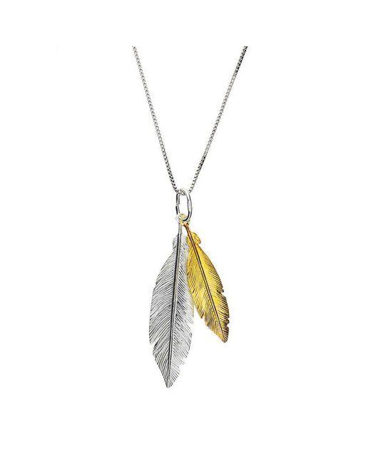 Azendi - Metallic Gold Vermeil Twin Feather Pendant - Lyst