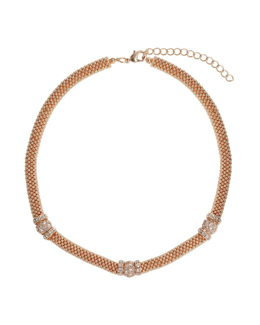 Mikey - Metallic Metal Chain Crystal Cylinder Necklace - Lyst