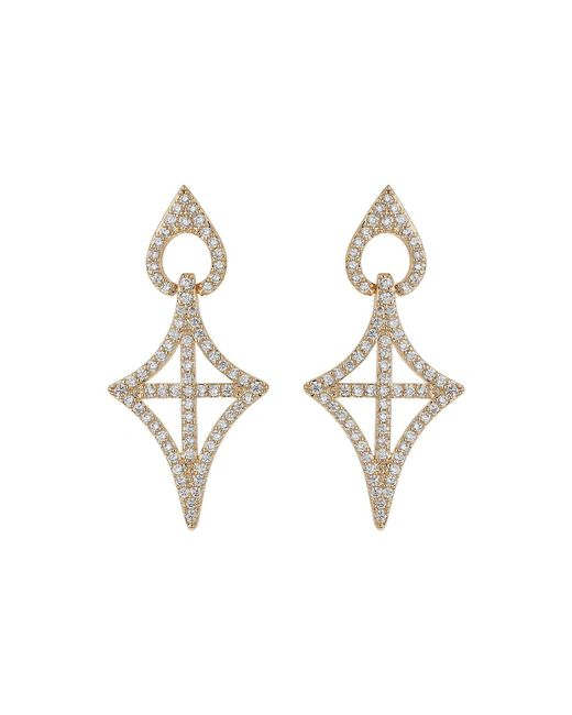 Mikey - Metallic Gothic Cross Oval Cubic Drop Earring - Lyst
