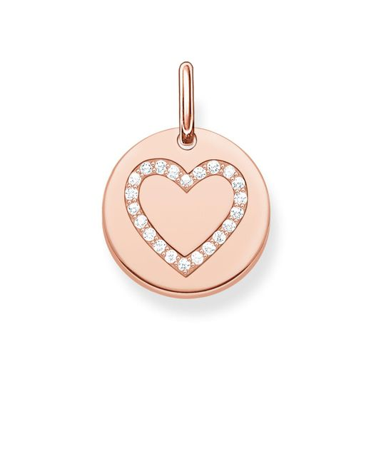 Thomas Sabo - Pink Love Coin Engravable Rose Heart Pendant - Lyst