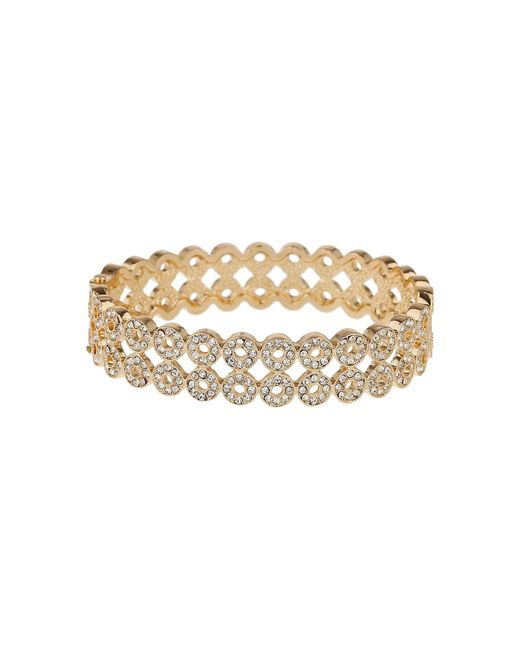 Mikey | Metallic Circle Cubic Embed Link Bangle Bracelet | Lyst
