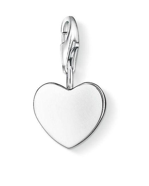 Thomas Sabo | Metallic Charm Club Silver Flat Heart | Lyst
