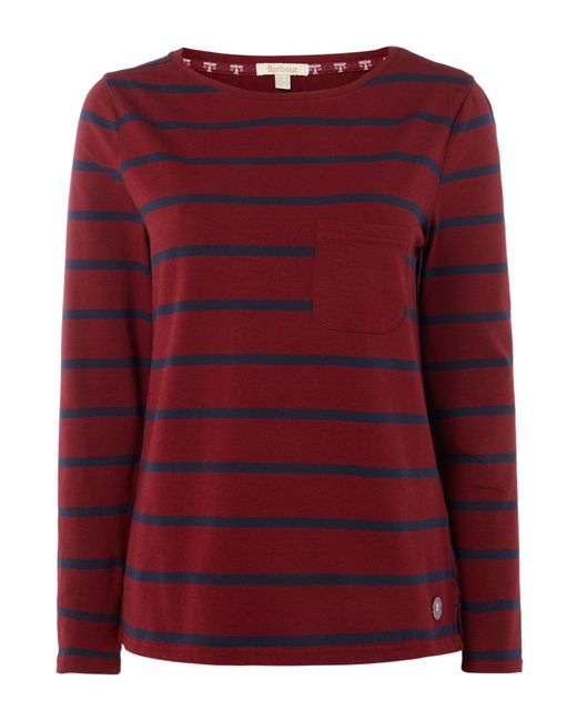 Barbour | Red Long Sleeved Beachley Top | Lyst