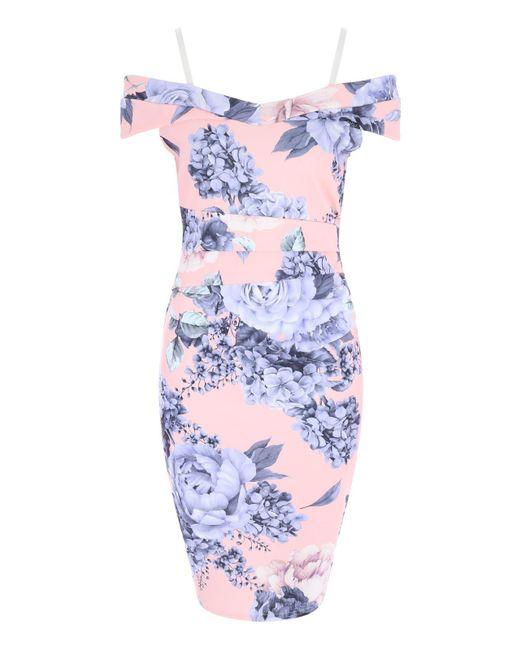 Jane Norman - Blue Hydrangea Print Bardot Dress - Lyst
