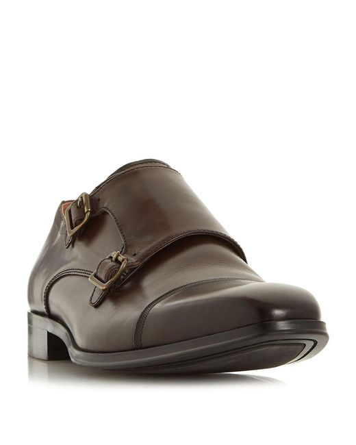 Dune Brown Pyramids Double Buckle Monk Shoes for men