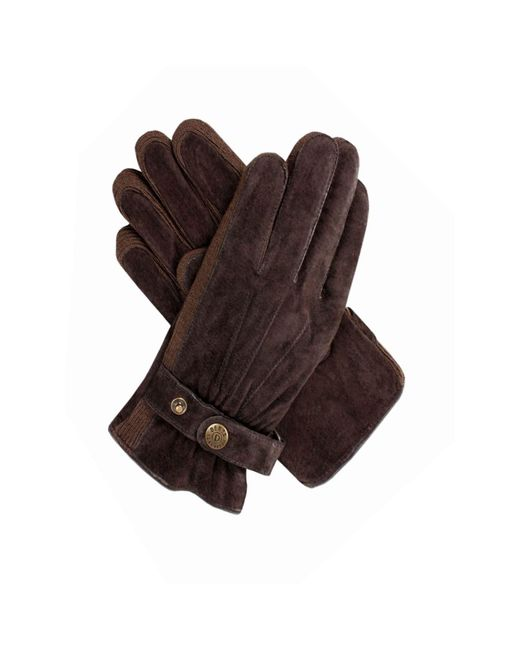 Dents Brown Casual Suede Gloves for men