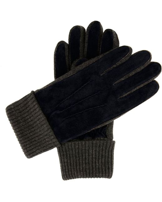 Dents Blue Men`s Casual Suede Gloves Knitted Cuff for men