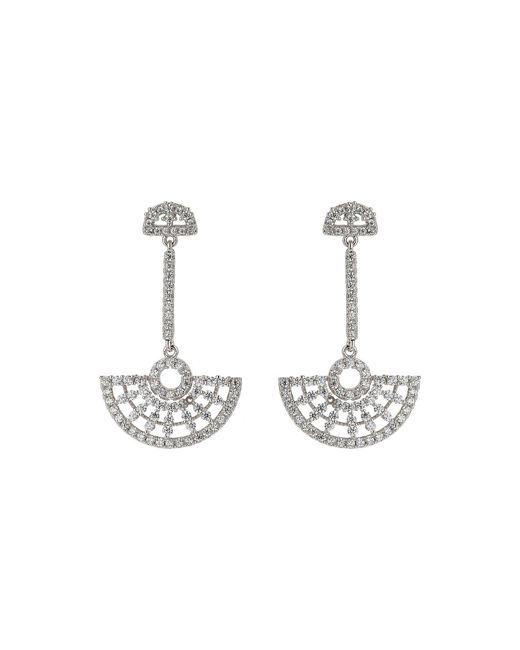 Mikey - White Half Crescent Hanging Cubic Earring - Lyst