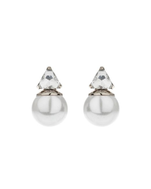 Mikey - Multicolor Pearl Crystal Triangle Drop Earring - Lyst
