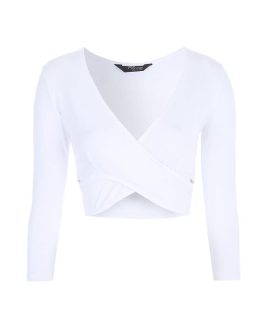 Jane Norman | White Wrap Cut Out Crop Top | Lyst