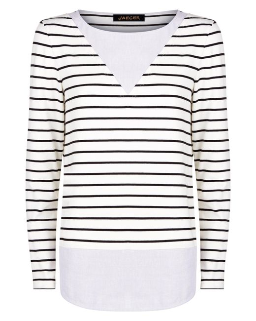Jaeger | White Jersey Woven Stripe Top | Lyst