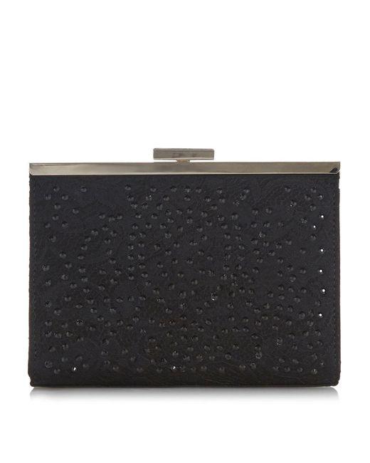 Dune Black Brea Lace Diamante Clutch Bag
