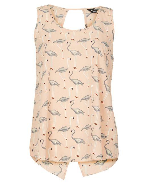 Izabel London - Pink Swan Print Split Back Top - Lyst