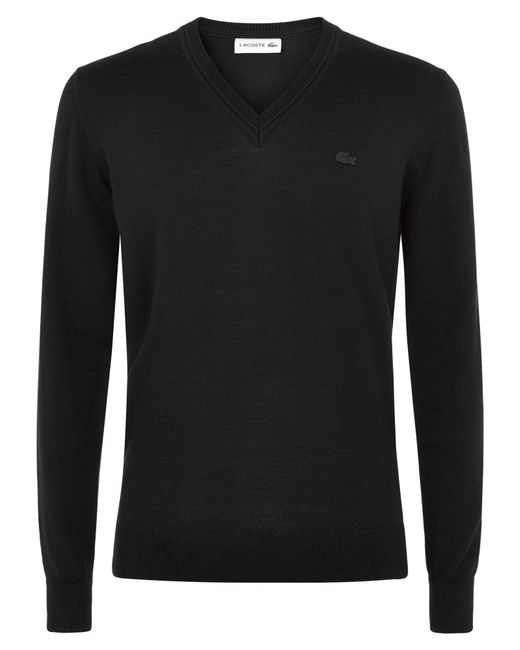 Lacoste - Black Lambswool V Neck Jumper for Men - Lyst