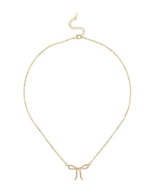 Mikey - Metallic London Bow Design Crystal Surround Necklace - Lyst