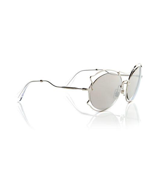Miu Miu - Metallic Silver Irregular Mu 50ss Sunglasses - Lyst