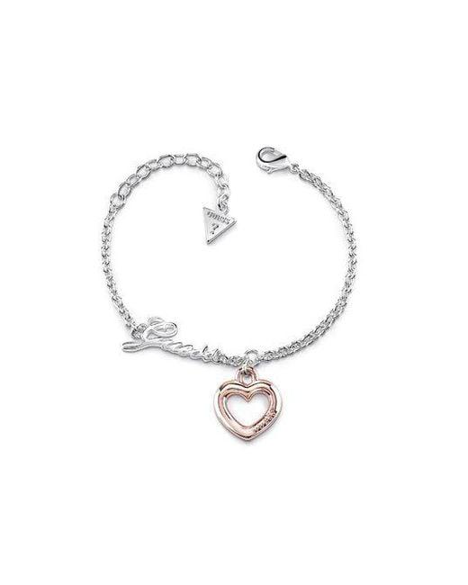 Guess - Metallic Grace Heart Bracelet - Lyst