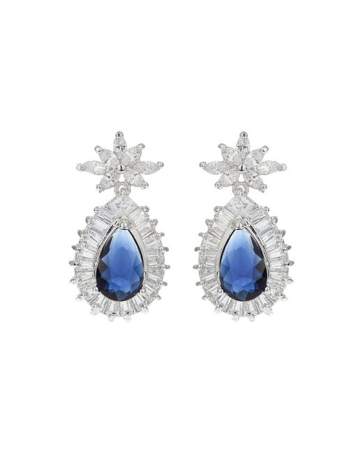Mikey - Blue Baguette Surround Oval Centre Earring - Lyst