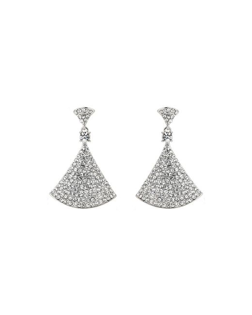 Mikey - White Bell Design Cubic Embed Drop Earring - Lyst