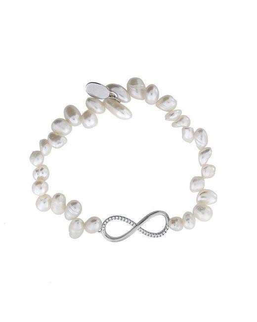 Azendi | Metallic Pearl & Pavé Infinity Bracelet | Lyst