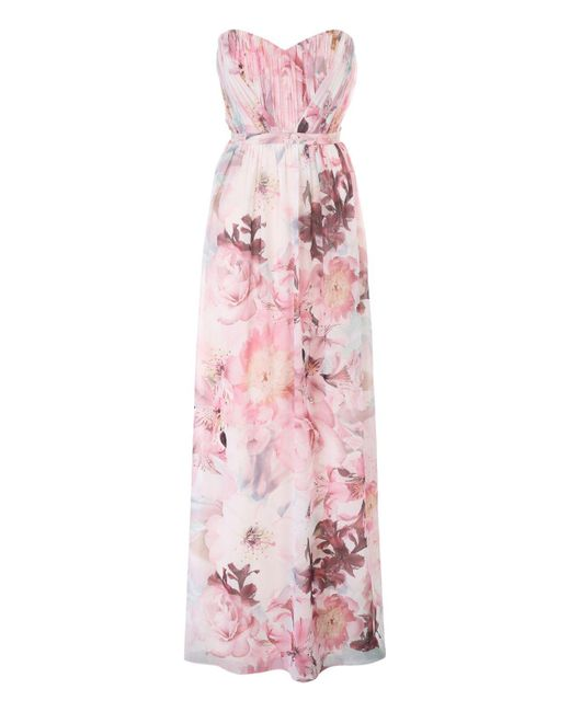Jane Norman | Pink Floral Pleated Maxi Dress | Lyst