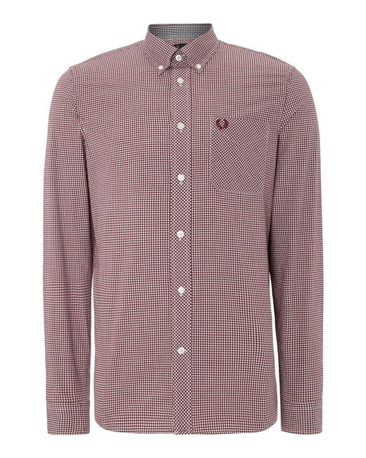 Fred Perry | Purple Gingham Classic Fit Long Sleeve Shirt for Men | Lyst