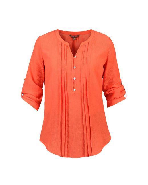 Jolie Moi - Orange Textured Button Front Blouse - Lyst