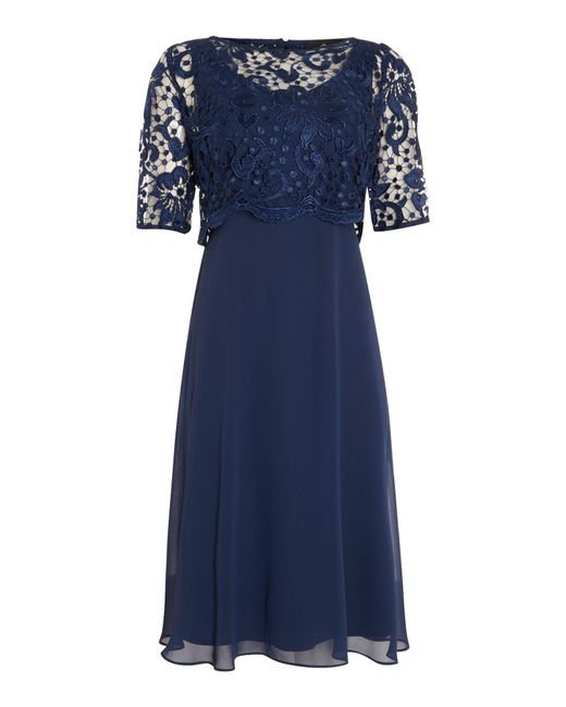 Ariella - Blue Lace Overlay Dress - Lyst