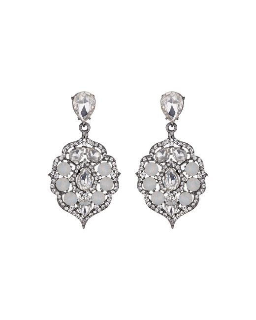 Mikey - White Fillagary Hanging Crystal Earring - Lyst