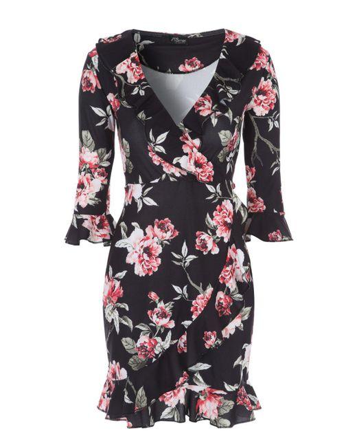Jane Norman - Black Floral Ruffle Wrap Dress - Lyst